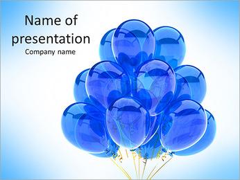 Party Balloons Blue Translucent Happy Birthday Anniversary Graduation Retirement Cyan Decoration F PowerPoint Template
