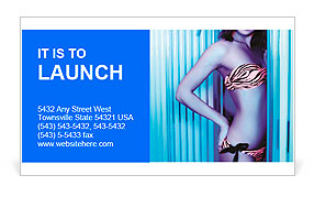 Beautiful young woman tanning in solarium. Beauty, healthcare. Business Card Template