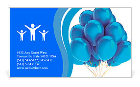 Cyan balloons modern party decoration. Happiness joyful holiday emotion abstract. Birthday celebrati Business Card Template
