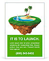 Personal resort on little planet. Concept for travel, holiday, hotel, spa, resort design. Tiny islan Ad Template
