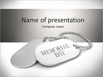 3D Illustration of Dog Tags PowerPoint Template