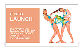 Two beautiful smiling girl in bikini Business Card Template