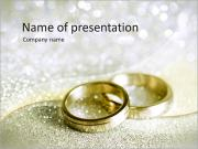 Beautiful silver background with wedding rings and stars PowerPoint Templates