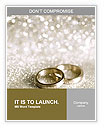 Beautiful silver background with wedding rings and stars Word Templates