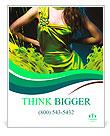 Sensual beautiful woman in green dress and paint splash Poster Template