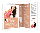Young, beautiful brunette with a hair dryer Brochure Template