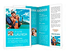 Happy young couple with snorkelling gear standing on a sea beach. Brochure Templates