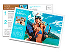 Happy young couple with snorkelling gear standing on a sea beach. Postcard Template