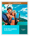 Happy young couple with snorkelling gear standing on a sea beach. Word Templates