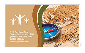Macro view of blue metal compass on the old world map Business Card Template