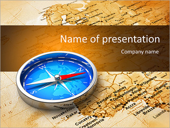 Macro view of blue metal compass on the old world map PowerPoint Template