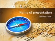 Macro view of blue metal compass on the old world map PowerPoint Templates