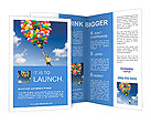 Happy young woman holding colorful balloons and flying over a green meadow Brochure Templates