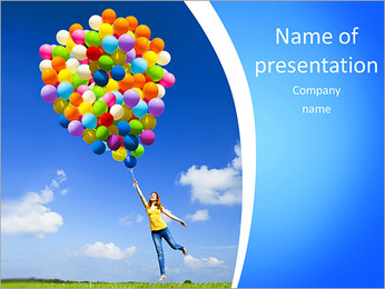 Happy young woman holding colorful balloons and flying over a green meadow PowerPoint Template