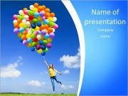 Happy young woman holding colorful balloons and flying over a green meadow PowerPoint Templates