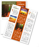 A path, bordered by tall trees runs through a lush, green forest with bright sun-rays shining throug Newsletter Template