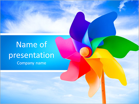 Color Pinwheel Against Summer Sky Powerpoint Template  Backgrounds