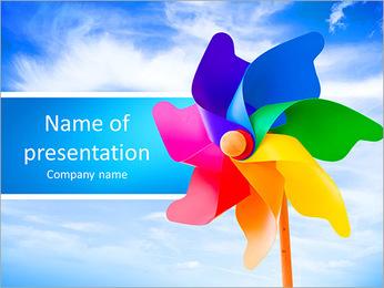 Color pinwheel against summer sky PowerPoint Template