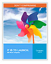 Color pinwheel against summer sky Word Templates
