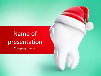 Tooth santa hat isolated on a white background PowerPoint Template