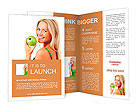 Blond woman eat green apple Brochure Template