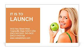 Blond woman eat green apple Business Card Template