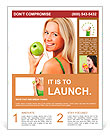 Blond woman eat green apple Flyer Template