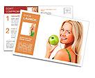 Blond woman eat green apple Postcard Template