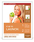 Blond woman eat green apple Poster Template