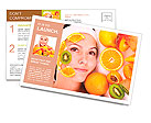 Natural homemade fruit facial masks . Isolated. Postcard Template