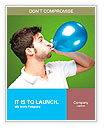 Portrait of young man blowing a balloon over green background Word Templates