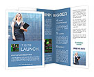 Business woman walking in the street Brochure Templates
