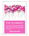 Flying colorful balloons on a white background Ad Template