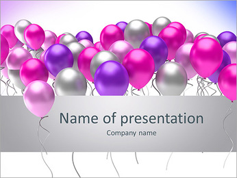 Flying colorful balloons on a white background PowerPoint Template