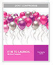 Flying colorful balloons on a white background Word Templates