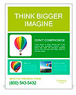 Colorful air balloon 3d illustration isolated over white Poster Template