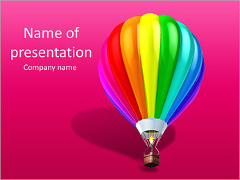 Colorful air balloon 3d illustration isolated over white PowerPoint Template