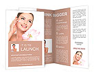Happy portrait of beautiful young woman with flower on a shoulder applying cosmetic cream on a cheek Brochure Templates