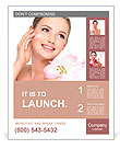 Happy portrait of beautiful young woman with flower on a shoulder applying cosmetic cream on a cheek Poster Template