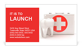 Stomatology. Tooth and Medical Kit on white isolated background. 3d Business Card Template