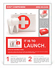 Stomatology. Tooth and Medical Kit on white isolated background. 3d Flyer Template