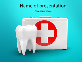 Stomatology. Tooth and Medical Kit on white isolated background. 3d PowerPoint Template