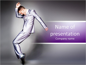 Young dancing businessman in elegant gray suit. PowerPoint Template