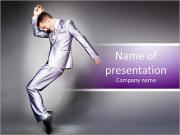 Young dancing businessman in elegant gray suit. PowerPoint Templates
