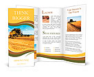 Combine harvester on a wheat field with a blue sky Brochure Templates