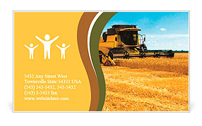 Combine harvester on a wheat field with a blue sky Business Card Template
