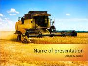 Moissonneuse-batteuse dans un champ de blé avec un ciel bleu Modèles des présentations  PowerPoint