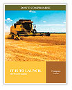 Combine harvester on a wheat field with a blue sky Word Templates
