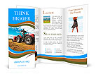 Huge tractor collecting haystack in the field in a nice blue sunny day Brochure Templates