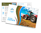 Huge tractor collecting haystack in the field in a nice blue sunny day Postcard Template